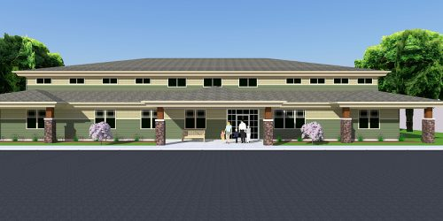 Rendering of exterior of Children's Therapy Corner in Lansing
